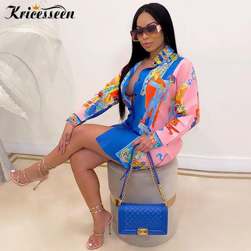 Kriseseen vintage impresso turn-down camisa-vestido (rosa/azul) outono das mulheres manga longa vestido oversized blusa tops clubwear