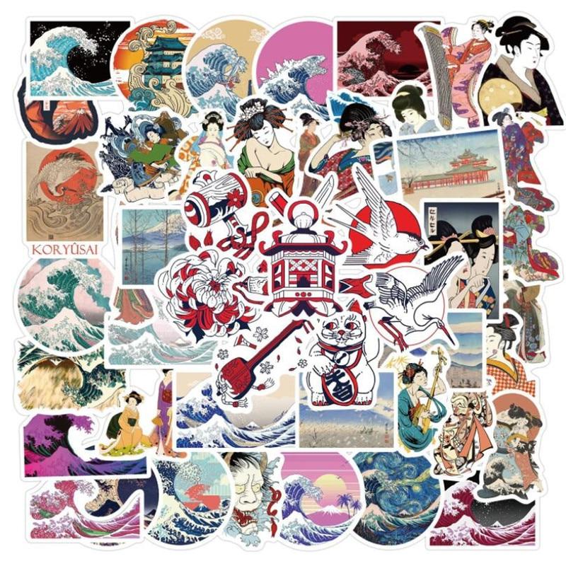 10-30-50-шт-э-волна-стиле-«граффити»-из-мультфильма-Чемодан-ноутбук-Водонепроницаемый-без-клея-наклейки-оптом
