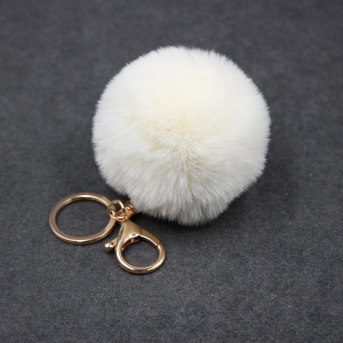 LLavero de pompón de pelo bulbo de pelo de conejo grande de 8CM de piel sintética bolso Pom BOLA DE pompón colgante de llavero Porte Clef para mujeres encantador mullido
