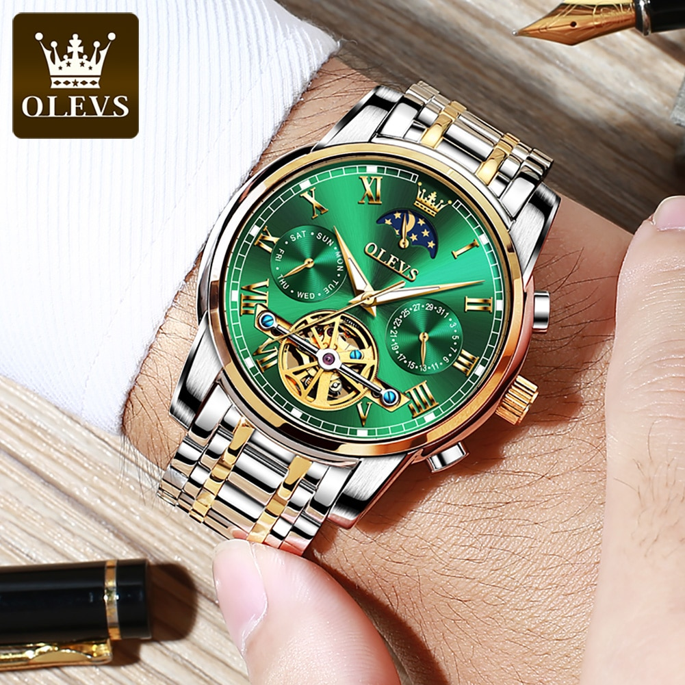 OLEVS Top Luxury Brand Automatic Watch Men Moon Phase Tourbillon Mechanical Watches Waterproof Wrist Watches Relogio Masculino enlarge