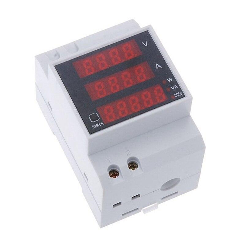 ¡Arriba!-multímetro amperímetro de voltímetro de pantalla de voltaje de alimentación de carril DIN de corriente digital multifuncional