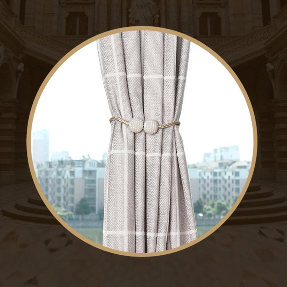 Cinta de cortina con estilo magnético Cordón de madera tejido cuerda cortina Tieback anillo titular decoración del hogar fácil de atar Clips de hebilla