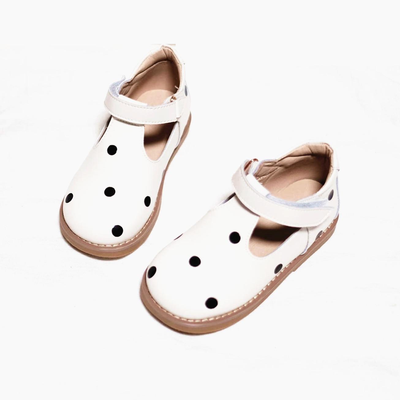 الصيف الفتيات حذاء كاجوال جلد البقر النقاط مريحة الأميرة أحذية جلد طبيعي للأطفال الصنادل أطفال أحذية مدرسة 6T