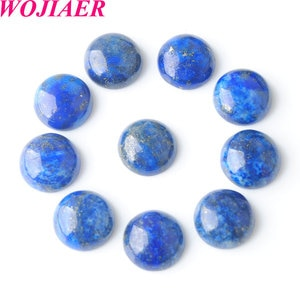 Lapis Lazuli Loose Gem Stone Round Cabochon Beads Natural Stone Healing Bead Fit for Women Men DIY Handmade Jewelry 50PCS PU8229