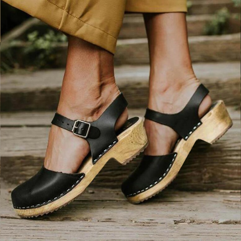Women Summer Platform Sandals Woman Wedge Shoes Buckle Strap Ladies Leather Boots Round Toe Casual I