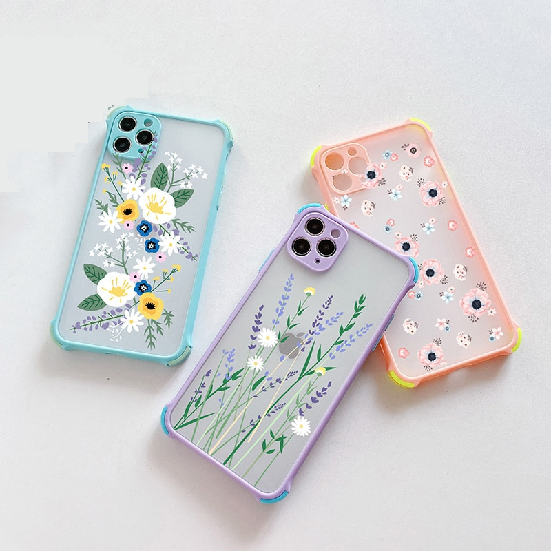 Transparent Matte PC Case For iPhone 12 Pro 11 Pro Max 3D Flower Painted Case for iPhone XS XR iPhon