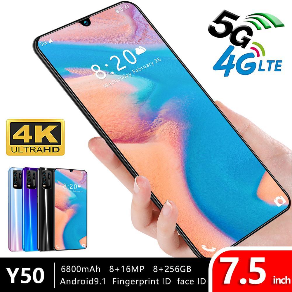 7,5 pulgadas Y50 pantalla grande smartphone Android 9,0 Snapdragon 855 8GB RAM 256GB ROM 6800mAh 4G LTE 11 teléfono inteligente versión global