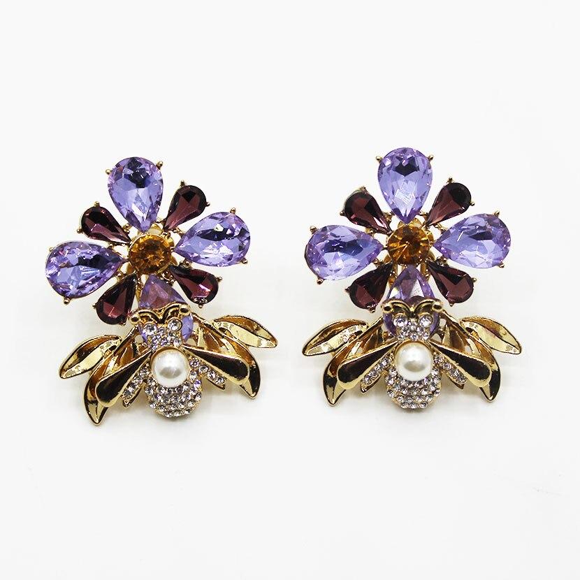 Elegância barroco brincos femininos gem abelha flor de cristal metal com pedras preciosas brincos de cristal dangle doce moda meninas luxo