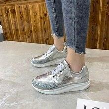 YRRFUOT femmes chaussures décontractées en plein air grande taille Solf femmes Sneaker paillettes strass vulcanisé chaussures Zapatos Mujer femmes Sneaker