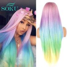 Parrucca in pizzo sintetico Ombre parrucche blu rosa parrucche colorate SOKU lunghe parti libere per donne nere parrucca in pizzo Cosplay arcobaleno dritto/ondulato