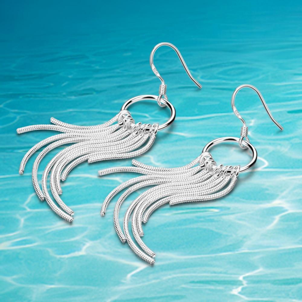 New products on the shelves, 925 pure silver earrings, multi-line long tassels Drop Earrings , women's fashion accessories