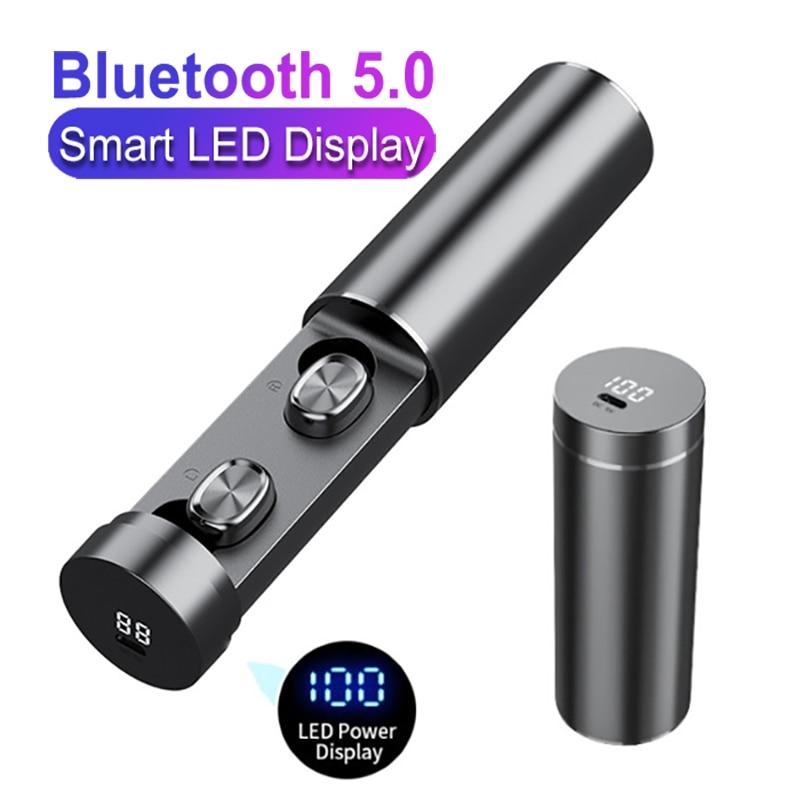 Auriculares TWS B9, inalámbricos por Bluetooth V5.0, auriculares estéreo HIFI de sonido para deporte y negocios con pantalla táctil LED Digital