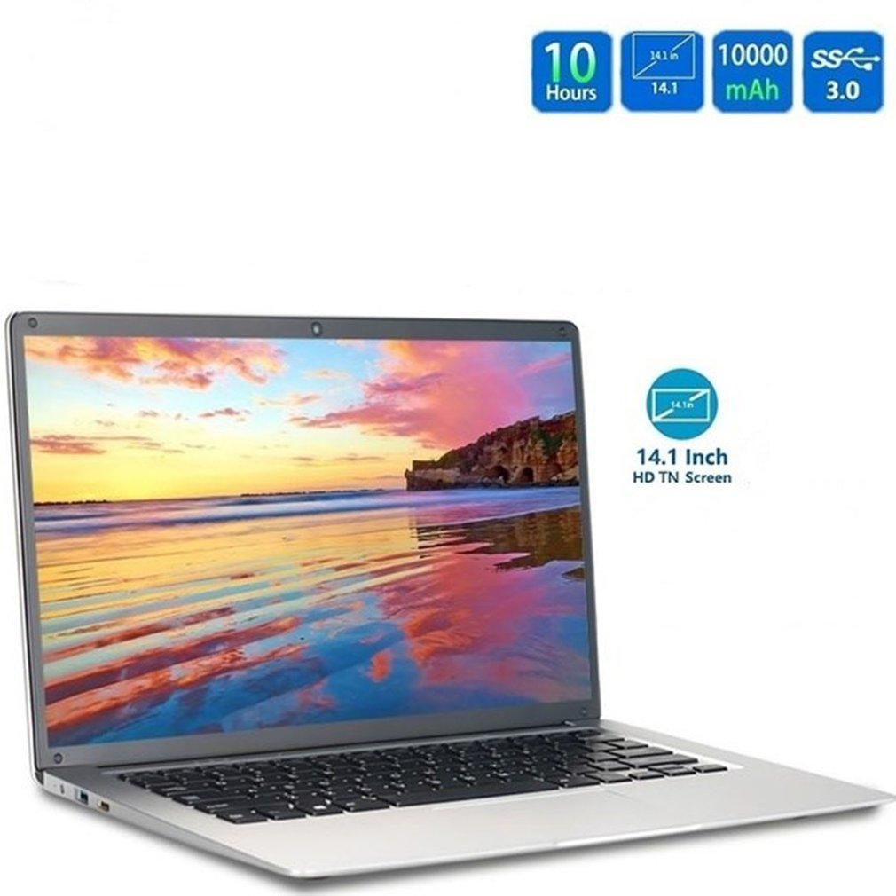 Portable 14 Inch Laptop Silvery Ram 6GB+ Rom 64GB High Definition 2.4Ghz TF Card Ultrathin Computers