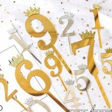 Garniture de gâteau de mariage en acrylique   Couronne numéro 0-9, garniture pour joyeux anniversaire, décorations de gâteaux pour fête danniversaire de mariage, argent et or
