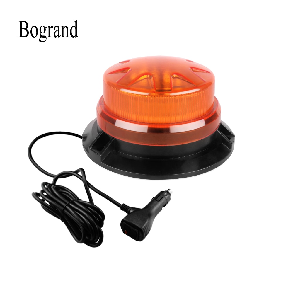 Bogrand 9-28V Led Rotating Flashing Amber Emergency Strobe Warning Beacon Light With Magnetic