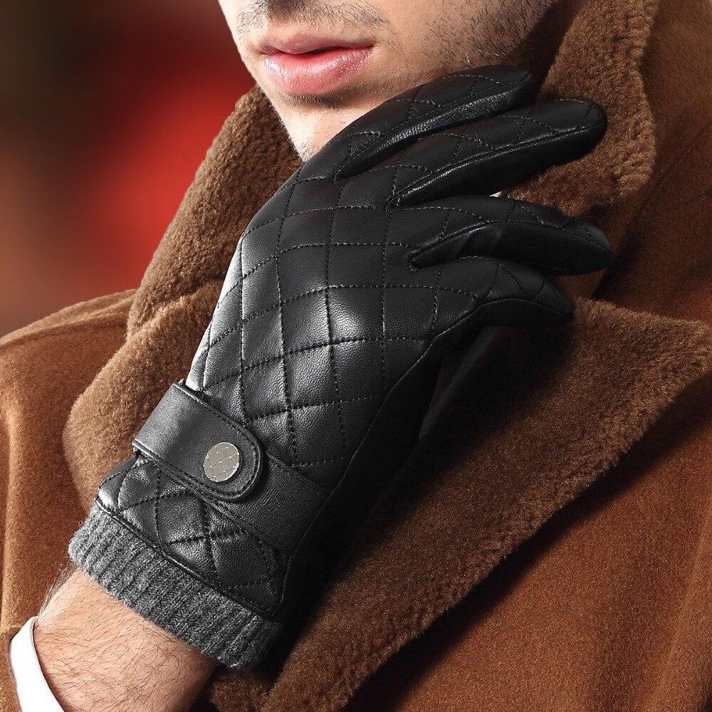 Новинка, перчатки из натуральной кожи, мужские Модные клетчатые мужские перчатки из овчины, осенне-зимние теплые перчатки с плюшевой подкла...