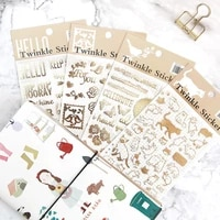 1 sheet gold foiling letters bird cats adhesive stickers notebook hand account decoration