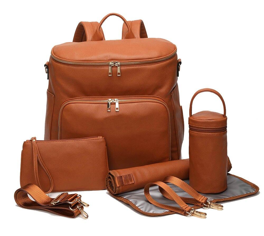 PU Leather Diaper Bag Backpack Travel Carry Bag, Nappy Baby Bag with Stroller Hanger Thermal Pockets Adjustable Shoulder Straps