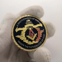 2020 coin european masonic freemasonry brotherhood gold and blue color round double commemorative coin decorative collection