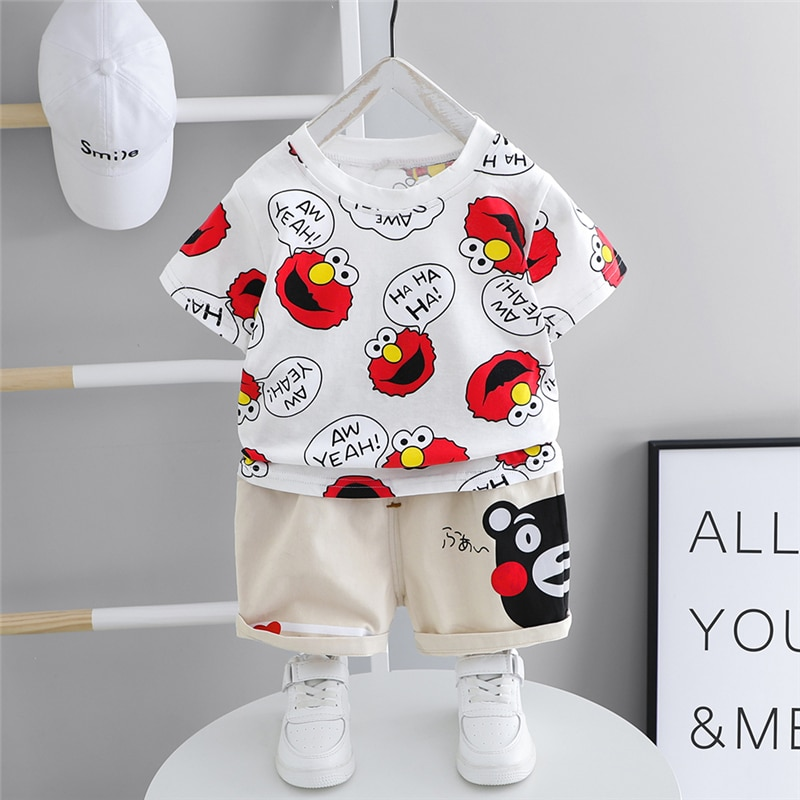 HYLKIDHUOSE 2020 Summer Baby Boys Girls Clothing Sets Toddler Infant Short Sleeve T Shirt Shorts Cartoon Children Sports Clothes