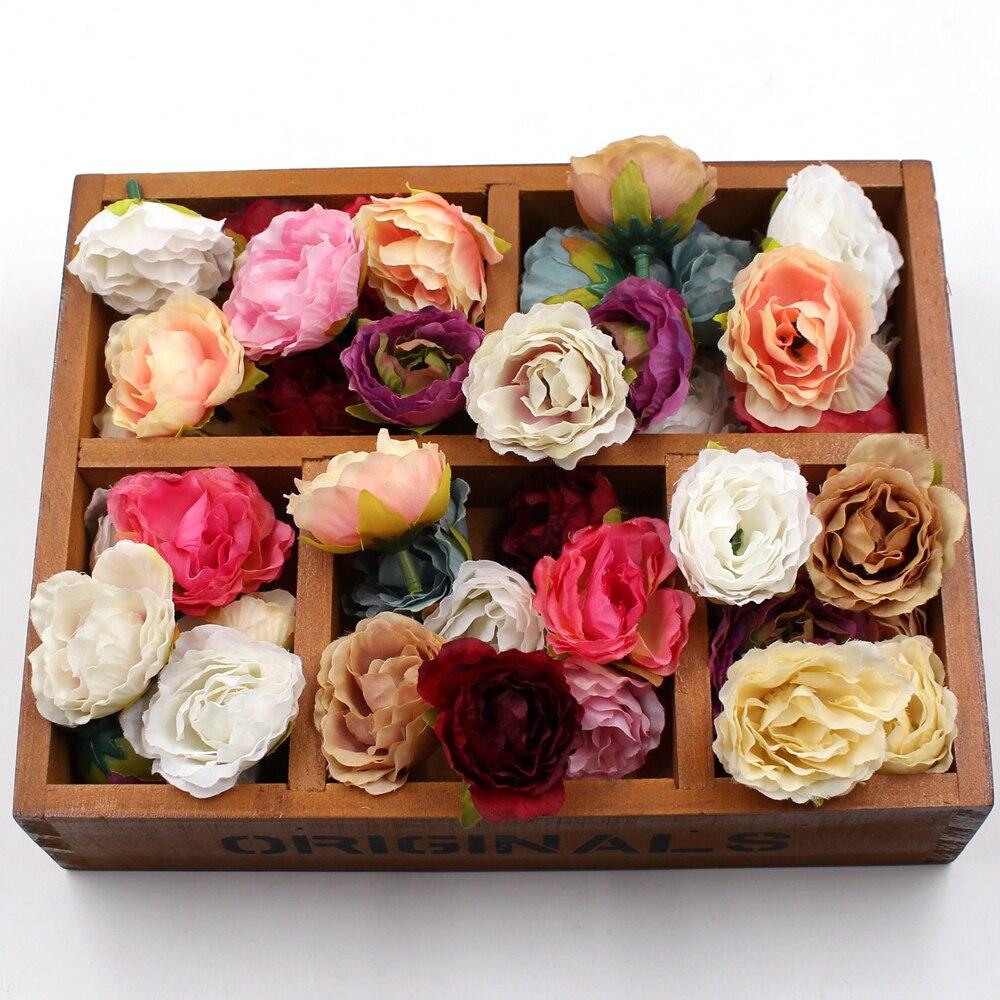 10 Uds flor Artificial de seda de peonía floreada para la decoración de la habitación del hogar del Partido de la boda zapatos de matrimonio sombreros accesorios hechos a mano artesanía