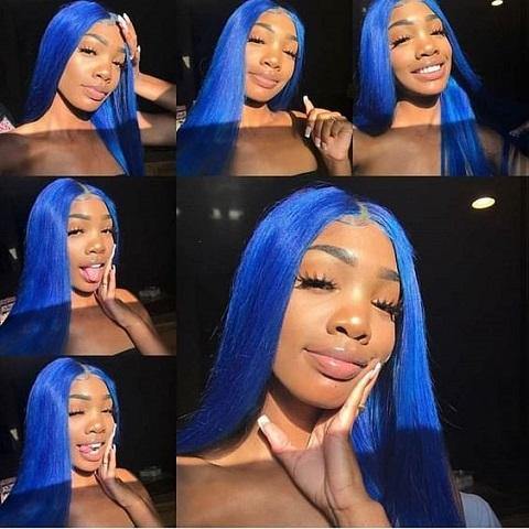 Dark Blue Straight 13x5 Lace Front Human Blue Hair Wig Hair Straight Hair Wig 180 Density