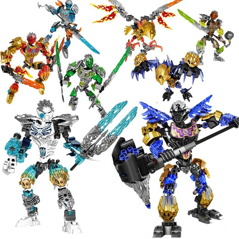 Compatible con Lepining superhéroes bioquímicos máscara de guerrero de la luz Bionicle Tahu Ikir ladrillos juguetes de bloques de construcción