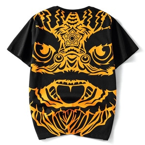 2021 Summer New Chinese Wake Lion Totem Trend Tide Brand Loose Cotton Round Neck Short Sleeve T-Shirt Men's Casual Homme