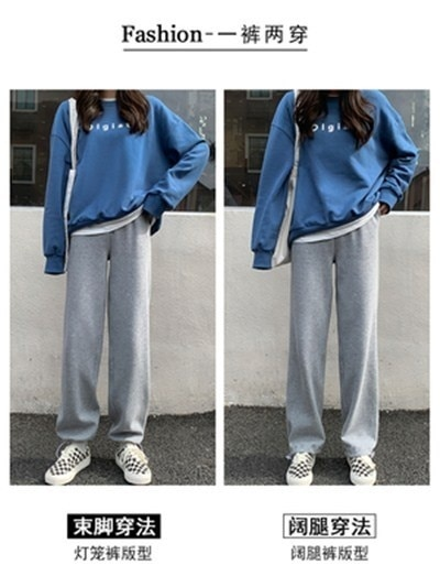 2021 Gray Sports Pants Female Spring and Autumn Loose Slimming Hundred