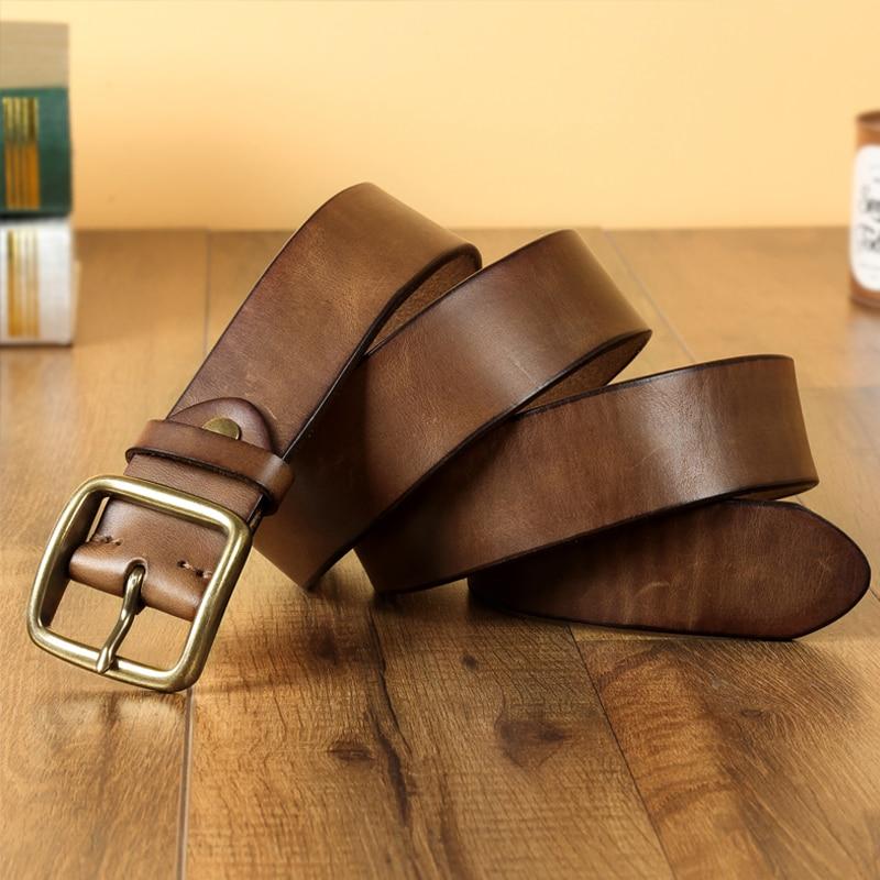 FTL-حزام جلد البقر الخالص ، حزام مشبك شبابي مصنوع يدويًا بشعار شعبي قديم