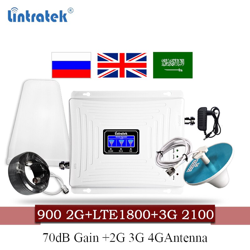 Impulsionador de sinal móvel 4g reino unido 900 1800 2100 gsm amplificador móvel repetidor dcs wcdma 2g 3g 4g lte repetidor de sinal 60