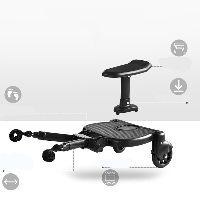 Universal Children Stroller Pedal Adapter Second Child Auxiliary Trailer Twins Scooter Hitchhiker Kids Standing Plate with Seat enlarge