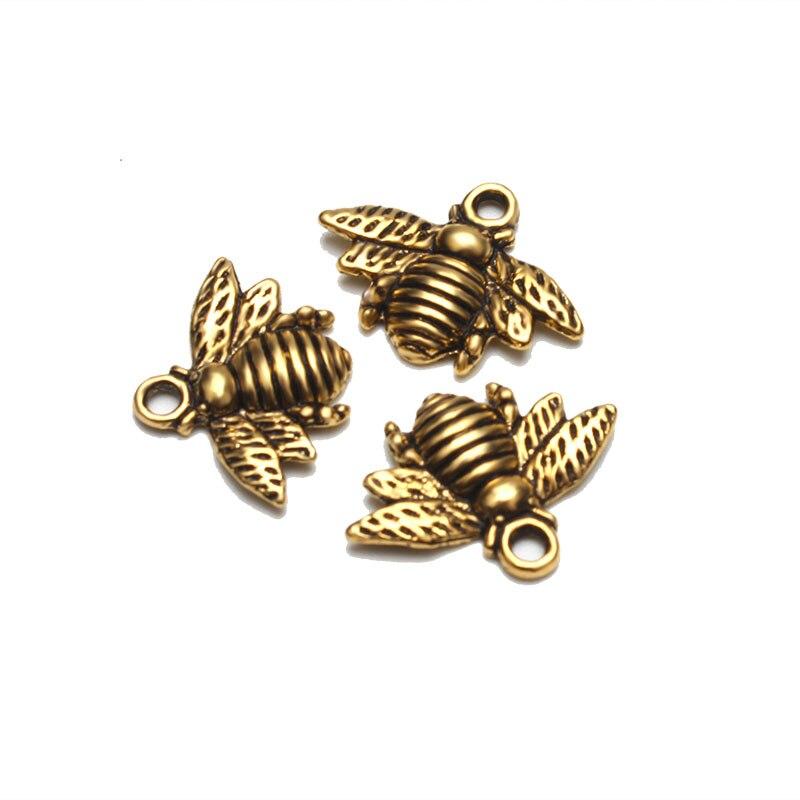 Lote de 10 colgantes Meibeads de abeja de 21mm de Color dorado antiguo para diy WF672