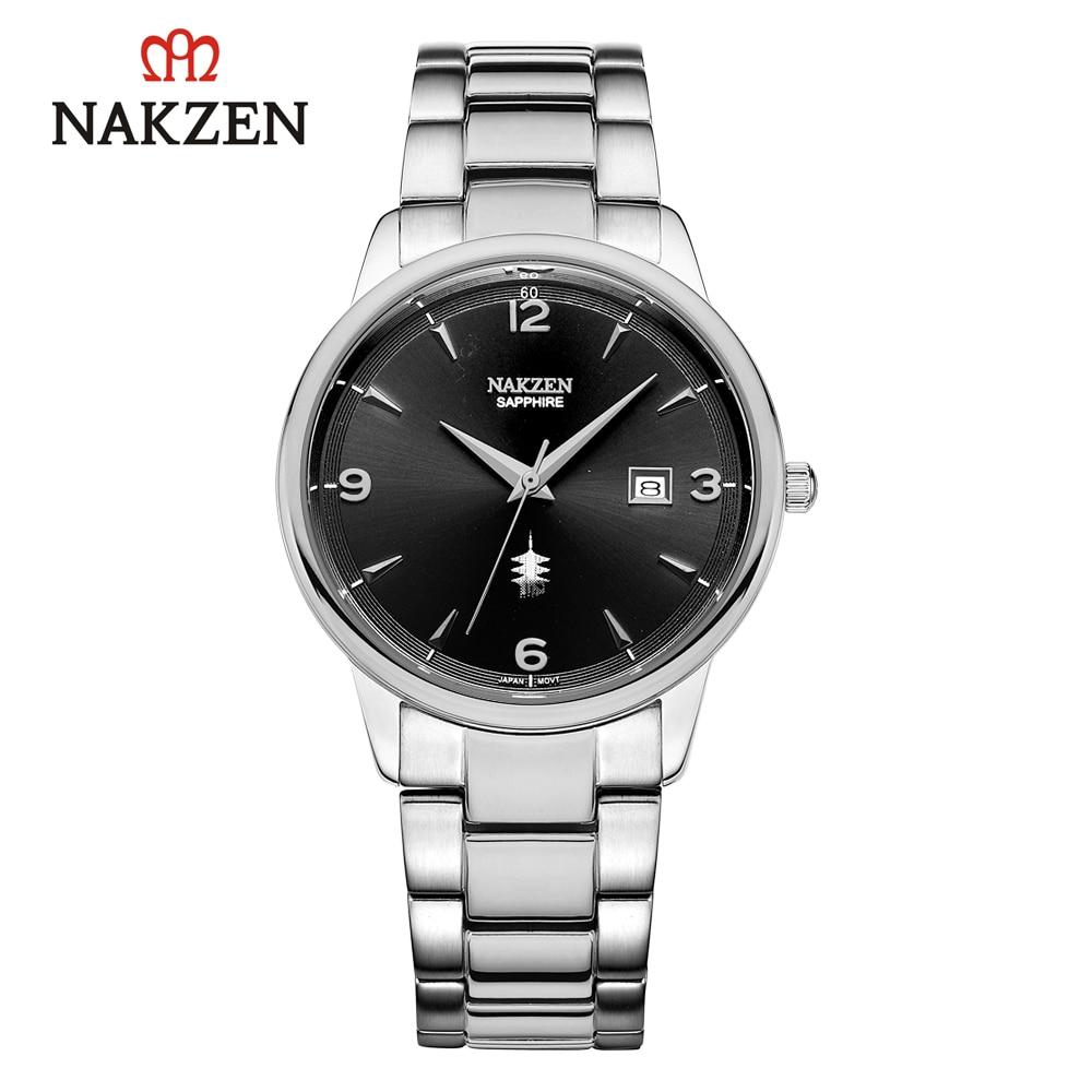 الأصلي Nakzen موضة الرياضة ساعة الرجال ساعة كوارتز عالية الجودة رقيقة جدا حاوية من الفولاذ المقاوم للصدأ الجمع بين التقويم