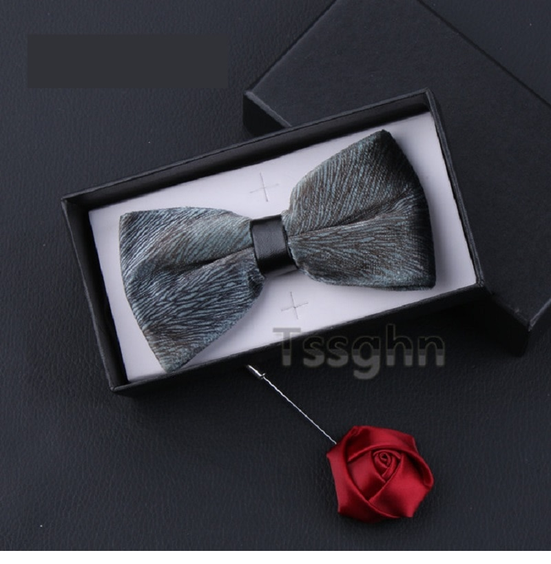 2020 New Fashion Designer Men's Bow Ties Double Fabric Velvet Solid Color Bow Tie Show Wedding Host Butterfly Tie with Gift Box