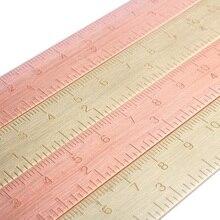 1 Pcs 15 Cm Vintage Messing Bladwijzers Rose Gold Meten Rechte Ruler Mini Kleine Koperen Heerser Schilderen Cartografie Heerser