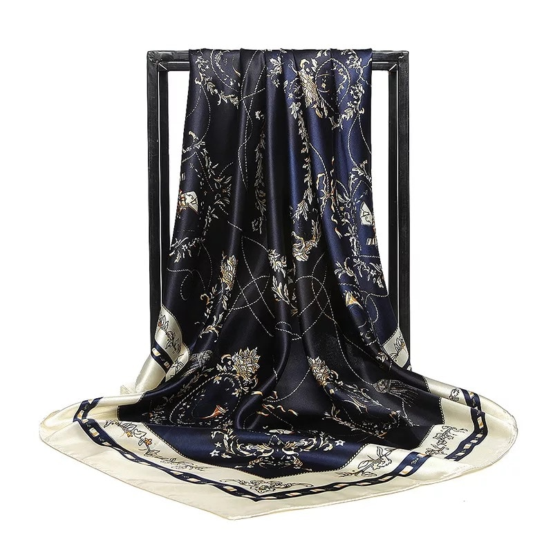 2020 marca de lujo Real telas bufanda mujeres 90cm Bandana impresa pañuelo versátil seda poncho de bufandas infinity chiffon hijab