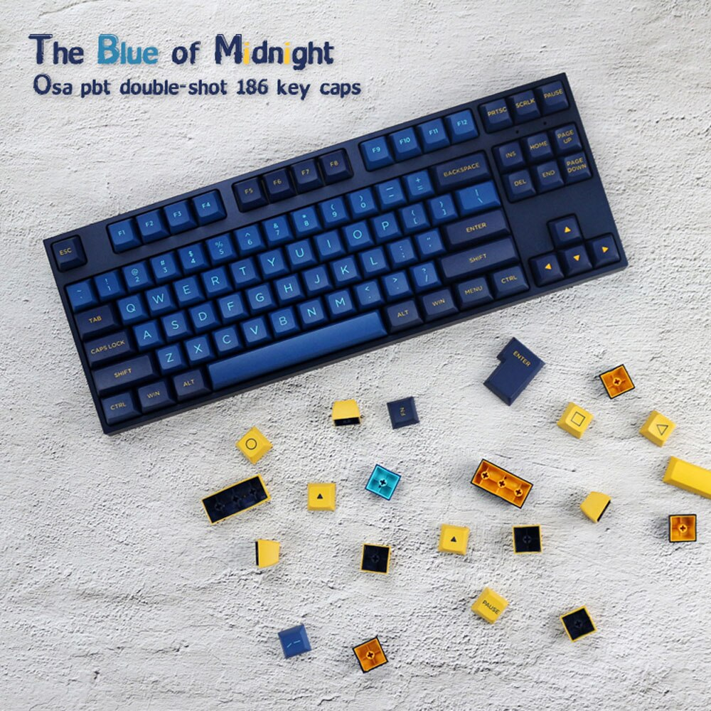 PBT 186 Keycaps/set OSA Height   the Blue of Midnight   For Gaming Mechanical Keyboard Perfect Feel enlarge