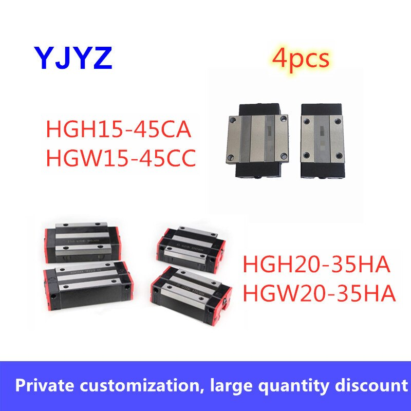 4 pçs HGH15-45CA HGW15-45CC HGH20-35HA HGW20-35HA slider block uso hgr guia linear para trilho linear cnc peças diy