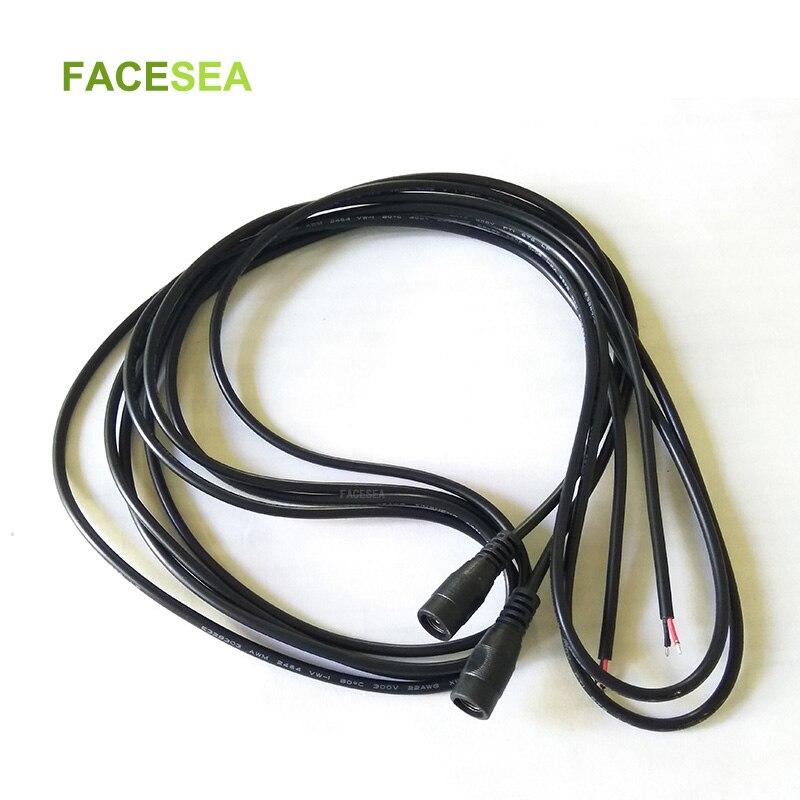 100 قطعة 1m 2m 3m DC الإناث موصل الطاقة 5.5x2.1 مللي متر تمديد الحبل 22awg أسود أبيض ل CCTV LED قطاع ضوء