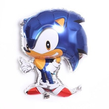 Sonic Party Kids Hedgehog Sonic Foil Balloon Boy Happy Birthday Party Decoration Pull Flag Tableclot