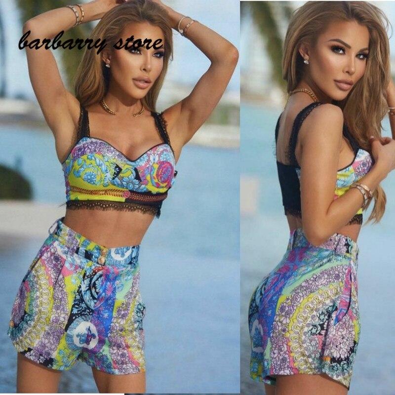 High quality women's Retro printing fashion lace suspender Top + floral High Waist Shorts Set sexy beach swimsuit split bikini