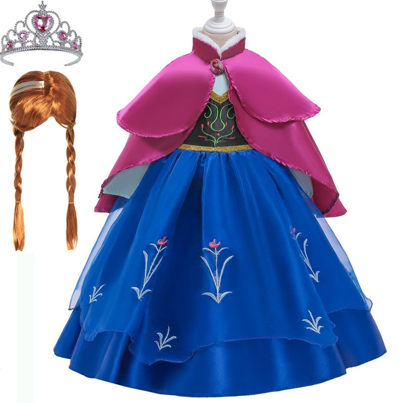 Enviar corona guantes de pelo niñas vestido Navidad Anna princesa Cosplay disfraz primavera para fiesta de cumpleaños Vestidos Menina