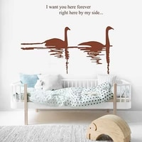 i want you here forever wall stickers swan pattern self adhesive decor decals for livingroom bedroom tv background wall dw7852