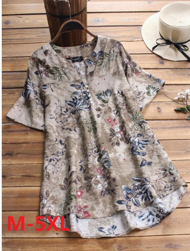 2021 Summer Women Flower Pullover Print Blouse Short Sleeve O-Neck Cotton Linen Shirt Tops Vintage Casual Loose Blouses