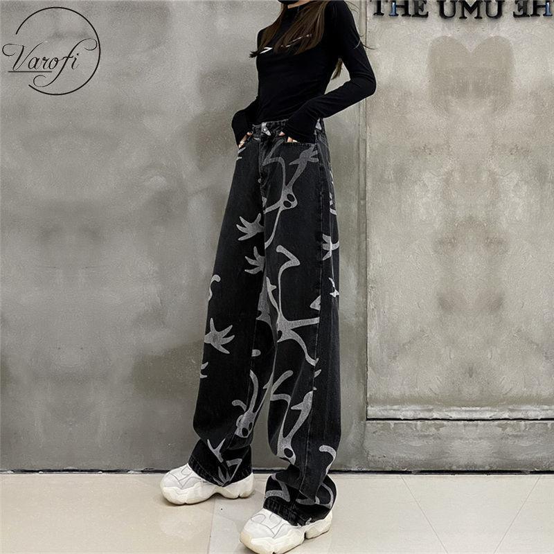 Varofi Street الجينز المرأة عالية الخصر فضفاض الجينز ريترو الأسود بنطال ذو قصة أرجل واسعة الجينز الأسود المرأة الجينز للنساء y2k الجينز