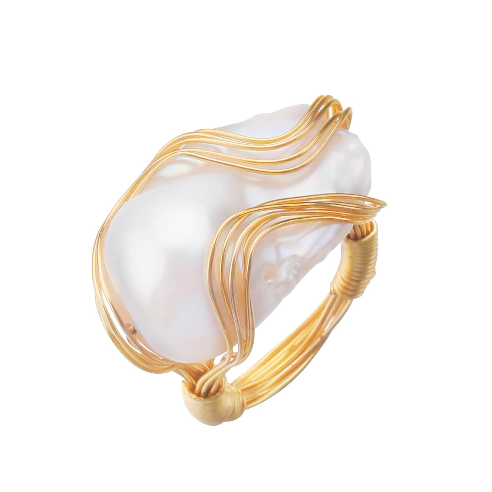 Женское-винтажное-Открытое-кольцо-с-натуральным-пресноводным-барочным-жемчугом