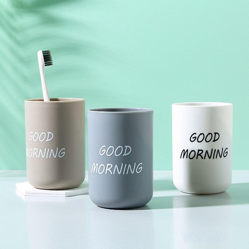 Simple Nordic Travel Portable Washing Cup Home Bathroom Couple Plastic Good Morning Toothbrush Holder Fashion Storage