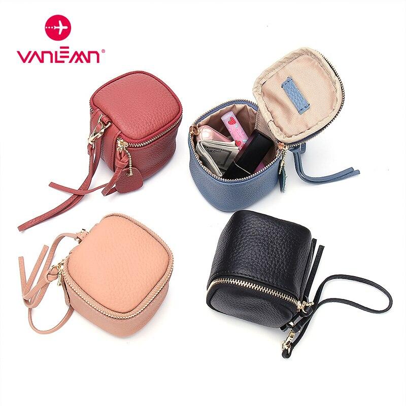 Fashion Coin Wallet Women Genuine Leather Mini Bucket Purse Zipper Safe Side Clutch Bag Keychain Car