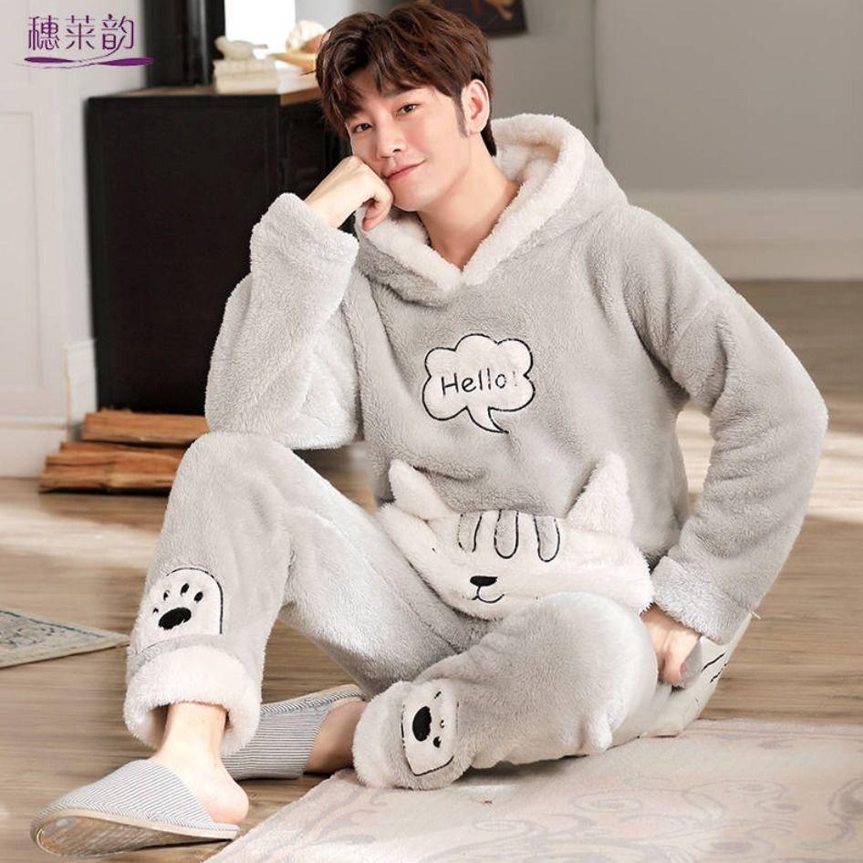 Пижама мужская осенне-зимняя утепленная бархатная одежда для лица Молодежная Коралловая флисовая одежда больших размеров мужской домашни...